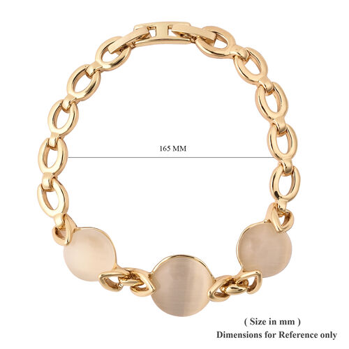 Simulated White Cats Eye Link Bracelet (Size 7) in Yellow Gold Tone