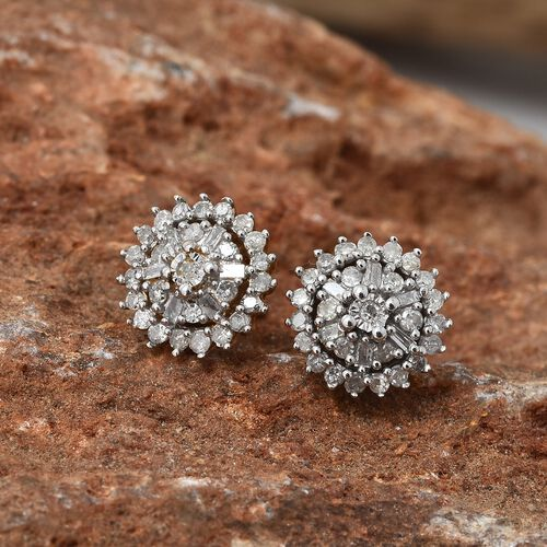 Diamond (Bgt & Rnd) Flower Earrings (with Push Back) in 14K Gold Overlay Sterling Silver 0.331 Ct.