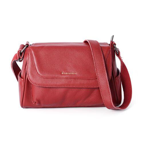 Sencillez 100% Genuine Leather Sassy Red Cross Body Bag with Zipper Pocket and Adjustable Shoulder Strap (Size 27x18x11 Cm)