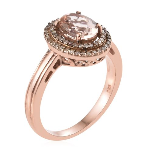 Super Auction- Rare Size Marropino Morganite (Ovl9X7 1.65 Cts), Natural Champagne Diamond (Rnd 0.35 Cts) Ring in Rose Gold Overlay Sterling Silver 2.000 Ct.