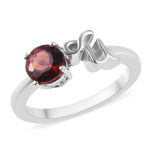 AA Mozambique Garnet Zodiac-Capricorn Ring in Platinum Overlay Sterling Silver 1.05 Ct.