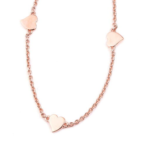 RACHEL GALLEY Heart Collection - Rose Gold Overlay Sterling Silver Heart Station Necklace (Size 25.5), Silver wt 12.27 Gms