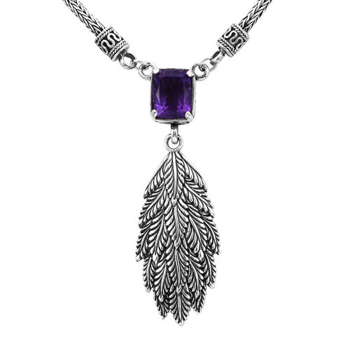 Royal Bali 3.11 Ct Amethyst Feather Crown Design Necklace in Sterling Silver 24.75 Grams 17 Inch