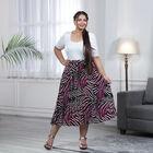 Black and Pink Pleated Midi Skirt (Size L/XL, 16-20)