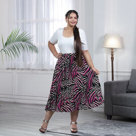Black and Pink Pleated Midi Skirt with Elasticated Waist