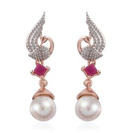 GP Freshwater Pearl,African Ruby and Blue Sapphire Peacock Earrings (with Push Back) in Rose Gold Ov