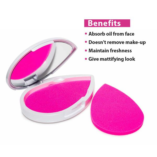 One Time Mega Deal-4 Beauty Blotting Sponges with 2 Compact Mirrors.