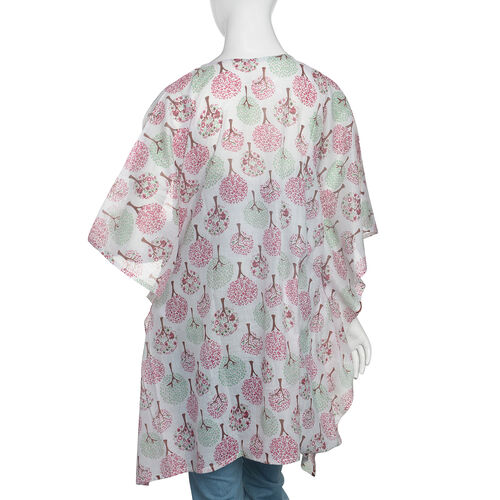 100% Cotton Pink, Green and Off White Colour Tree Pattern Kaftan (Size 80x70 Cm)