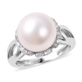 Edison Pearl and Zircon Solitaire Ring in Rhodium Plated Sterling Silver