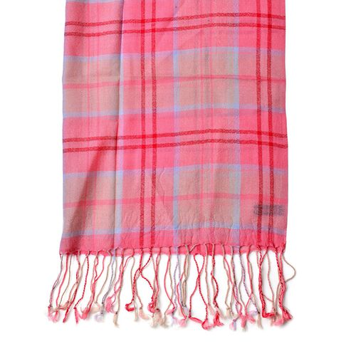Close Out Deal - 100% Wool Red, Pink and Multi Colour Checks Pattern Scarf with Tassels (Size 170X68 Cm)