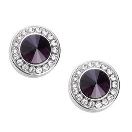 Simulated Amethyst and White Austrian Crystal Cuff Button Cover