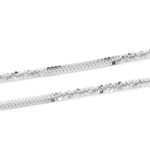 Rhodium Overlay Sterling Silver Alternate Margarita Chain (Size 30 Inch/ 76 Cm. ), 5.00 Grams.