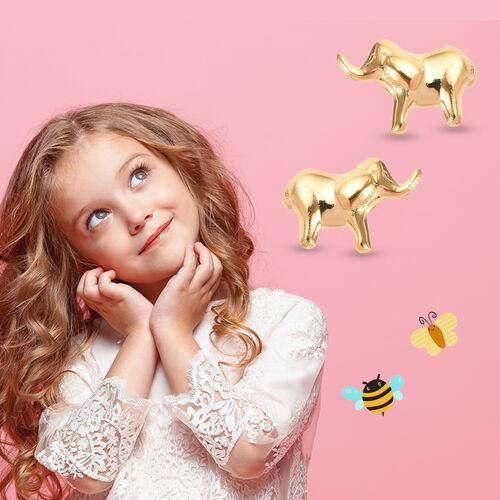 Children Elephant Earrings in Gold Plated Silver
