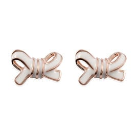 Rose Gold Overlay Sterling Silver Bow Enamelled Stud Earrings (with Push Back)