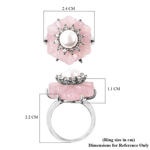 Rose Quartz, White Austrian Crystal and White Shell Pearl Floral Ring in Stainless Steel