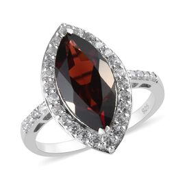 Mozambique Garnet (Mrq 16x8 mm) and Natural Cambodian Zircon Ring in Platinum Overlay Sterling Silve