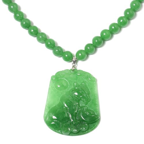 Green Jade Necklace (Size 18 with 2 inch Extender) in Rhodium Plated Sterling Silver 350.000 Ct.