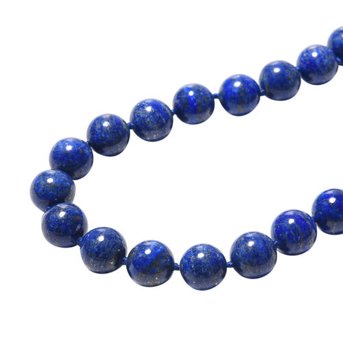 TJC Launch-Natural Lapis Lazuli Beads Necklace (Size 20 with 2 inch Extender) in Rhodium Overlay Sterling Silver 850.00 Ct.