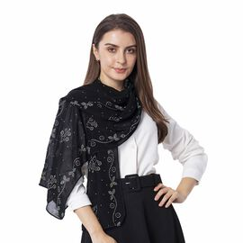 Black Colour Floral Pattern Crystal Embellished Scarf (Size 80.01x 48.26 Cm)
