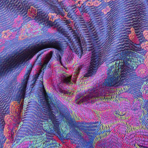 Navy, Pink and Multi Colour Floral Pattern Scarf with Tassels (Size 190X68 Cm)