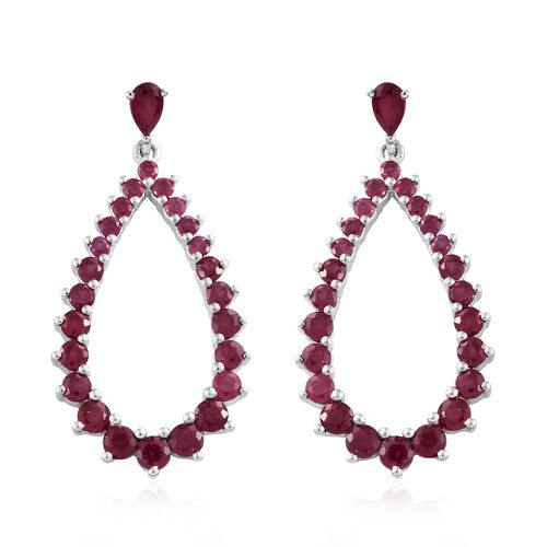 African Ruby (Rnd) Drop Earrings (with Push Back) in Platinum Overlay Sterling Silver 5.250 Ct., Silver wt 5.26 Gms.