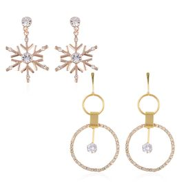 2 Piece Set White Crystal and Simulated Diamond Drop Earrings in Gold Plated