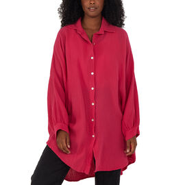 Nova of London Women Oversized Cheese Cloth Shirt (One Size) - Hot Pink