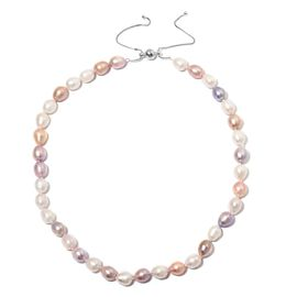 Freshwater Pearl Multi Colour Beads Adjustable Necklace (Size 18 to 24) in Rhodium Overlay Sterling Silver.
