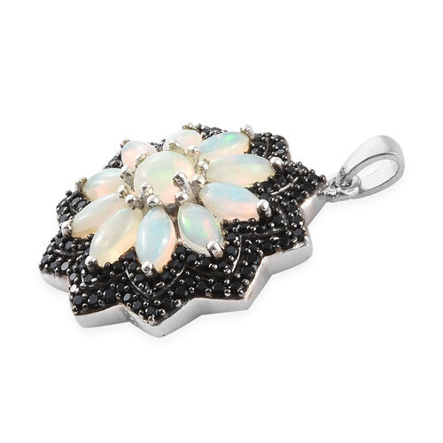 Ethiopian Welo Opal (Mrq), Boi Ploi Black Spinel Flower Pendant in Platinum Overlay with Black Plating Sterling Silver 3.500 Ct., Silver wt 5.38 Gms., Number of Gemstone 131