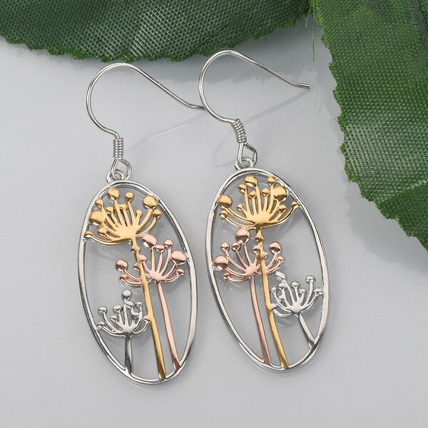 Platinum, Yellow and Rose Gold Overlay Sterling Silver Dandelion Hook Earrings, Silver wt 6.03 Gms.