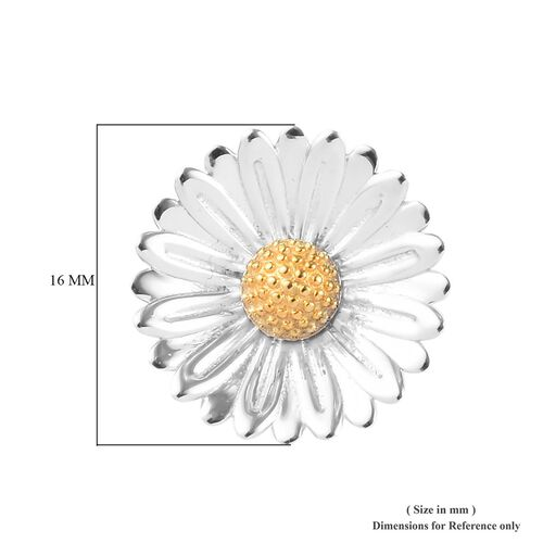 Platinum and Yellow Gold Overlay Sterling Silver Floral Stud Earrings (with Push Back)