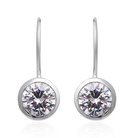 Simulated Diamond (Rnd) Hook Earrings in Sterling Silver