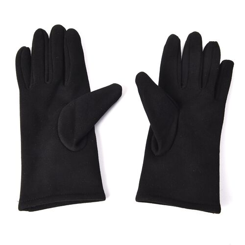 Solid Colour Women Winter Gloves with Rose Shaped Faux Fur on the Wrist (Size 8.9x22.9 Cm) - Black