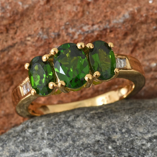 Russian Diopside (Ovl), Diamond Ring in 14K Gold Overlay Sterling Silver 1.750 Ct.