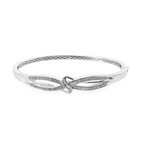 Diamond (Rnd and Bgt) Bangle (Size 7.5) in Platinum Overlay Sterling Silver 0.500 Ct, Silver wt 15.0