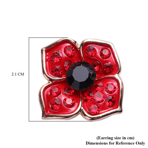 TJC Poppy Design - Black and Red Austrian Crystal Enamelled Earrings (with Push Back)