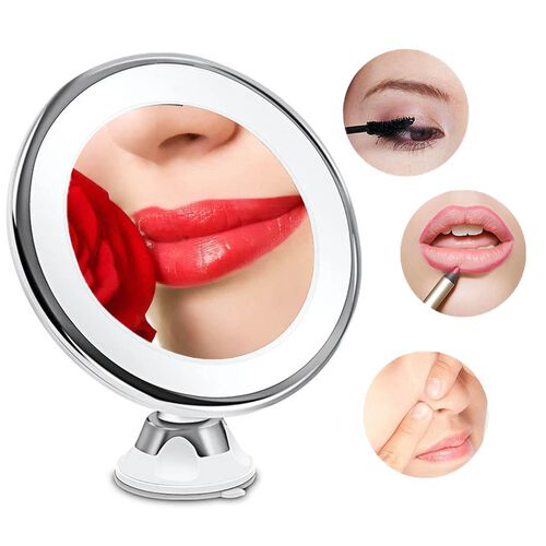 360 Degree Rotating LED Compact Mirror (Size 18.4x9.8 Cm) (AAA Battery not included) - 7xMagnification