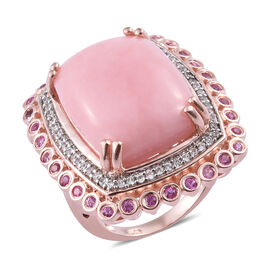 15.25 Ct Pink Opal and Sapphire Halo Ring in Rose Gold Plated Sterling Silver 10.45 Grams