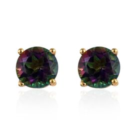 Northern Lights Mystic Topaz (Rnd) Stud Earrings (with Push Back) in 14K Gold Overlay Sterling Silve