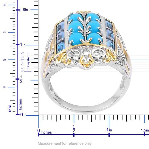 Arizona Sleeping Beauty Turquoise (Ovl), London Blue Topaz Ring in Rhodium and Yellow Gold Overlay Sterling Silver 4.900 Ct. Silver wt 9.19 Gms.