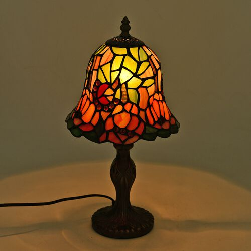 Luxury Edition - Tiffany Style Table Lamp with Stained Glass  Orange and Multi Colour Mosaic Flower Home Decor.