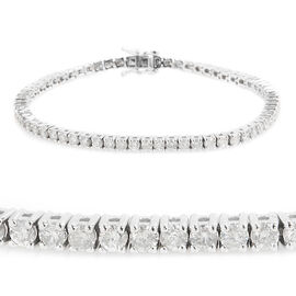 New York Close Out 14K White Gold Diamond (Rnd) (I3/G-H) Bracelet (Size 7.25) 5.000 Ct, Gold wt 13.00 Gms.