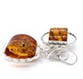 Amber  Earring in Rhodium Overlay Sterling Silver 1174.00 pc,  Sliver Wt. 8.6 Gms  1174.000  Ct.