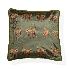 Designers Digitally Printed Silky Velvet  Monkey Cushion Cover with Fringes (Size 43x43cm) - Olive G