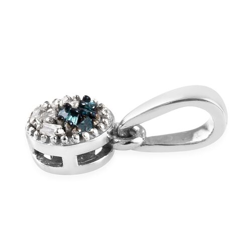 Blue and White Diamond (Bgt) Pendant in Platinum Overlay Sterling Silver 0.030 Ct.