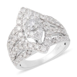 2.01 Ct Diamond Cluster Ring in 14K White Gold 9.10 Grams I1 I2 GH