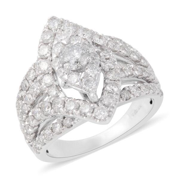 2.01 Ct Diamond Cluster Ring in 14K White Gold 9.10 Grams I1 I2 GH