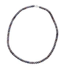Freshwater Peacock Pearl Beaded Necklace in Rhodium Plated Sterling Silver Size 20 Inch