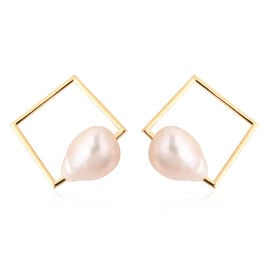 Baroque Edison Pearl Earrings (with Push Back) in Yellow Gold Overlay Sterling Silver