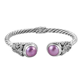 Royal Bali Collection Pink Mabe Pearl (Rnd 14 mm) Twisted Cuff Bangle (Size 7.5) in Sterling Silver,
